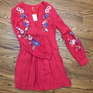 Free People Mia Gauze Embroidered Red Dress